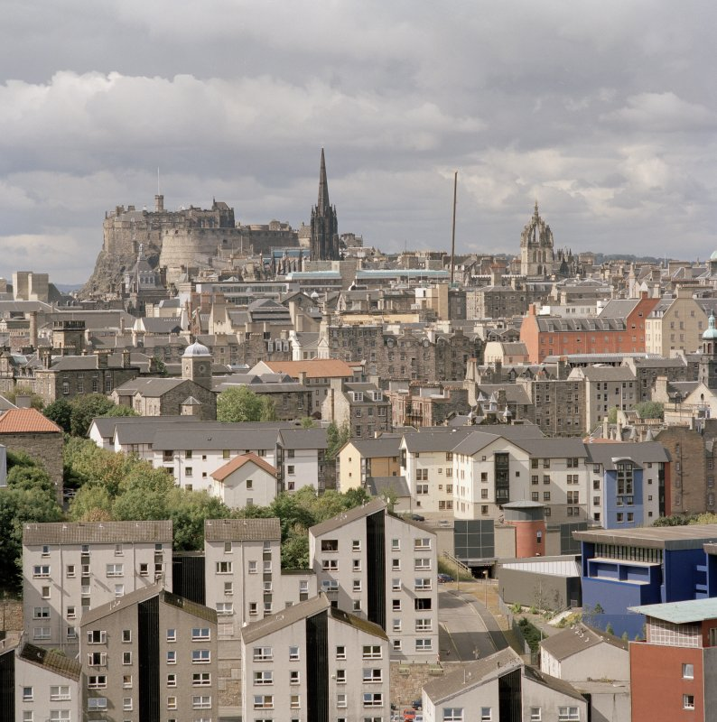 Distant view showing Edinburgh Castle, The Tron Kirk and St. Giles from Salisbury Crags to East