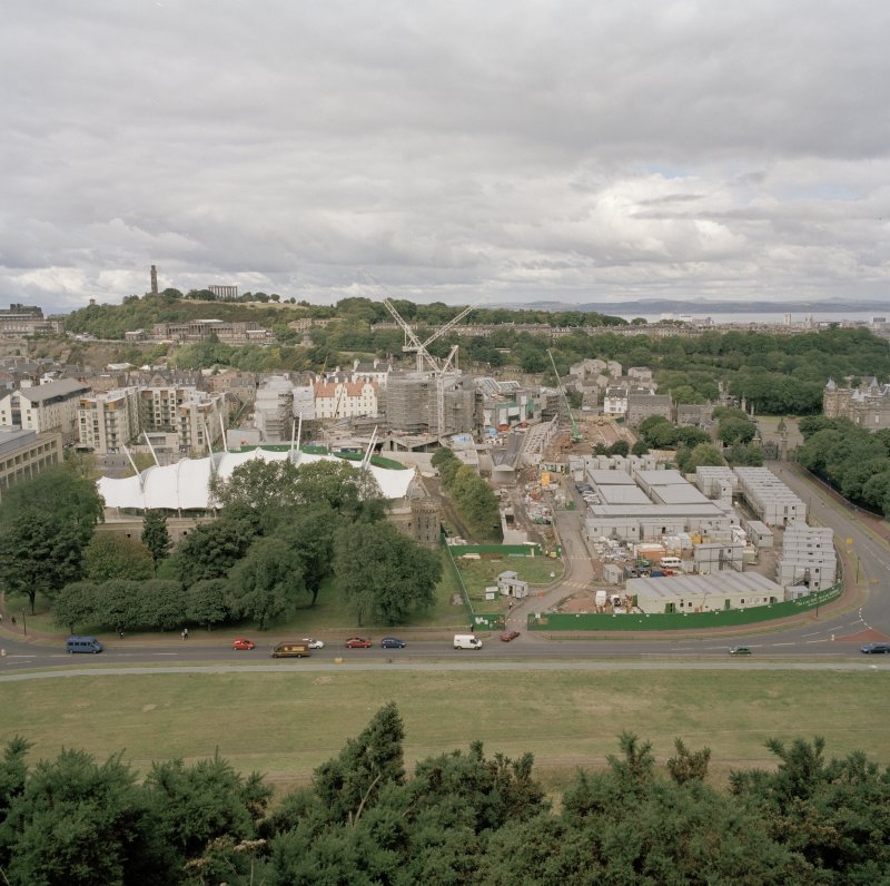 View from Salisbury Crags to south showing Parliament building under construction and Dynamic Earth.
