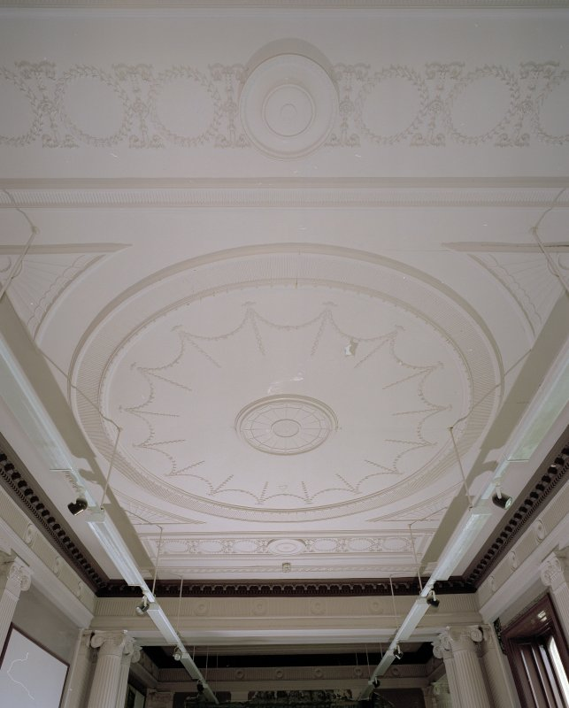 Interior. Ground floor, ballroom, ceiling, view from W