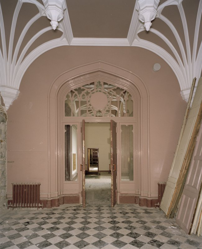 Interior. Ground floor, entrance hall, view from E