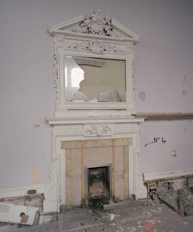 Interior. Ground floor, morning room, view of fireplace with mirror above