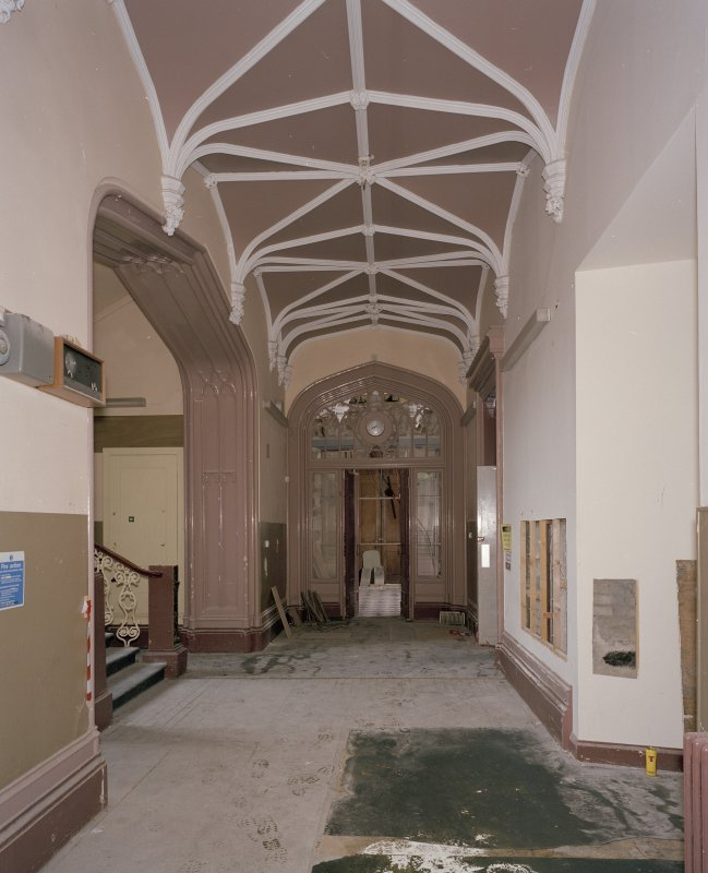 Interior. Ground floor, staircase hall, view from W