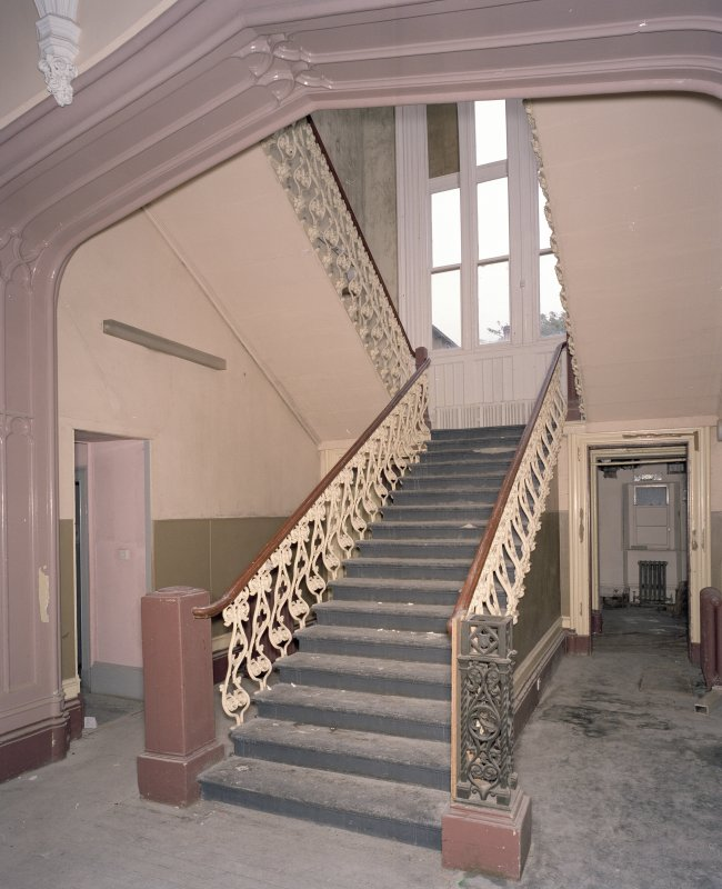 Interior. Ground floor, main staircase, view from S