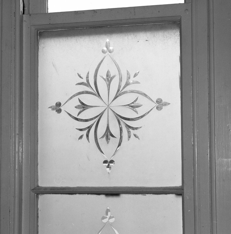 Interior. 1st floor, corridor, detail of etched glass