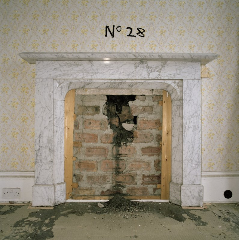 Interior. 1st floor, E Princes room, detail of fireplace