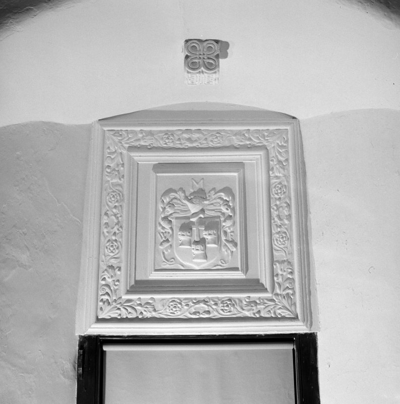 Interior. 1st. floor, main hall, detail of plaster panel above north window