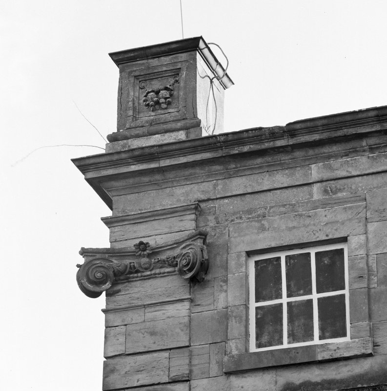 Detail of NE corner of N front showing Ionic pilaster