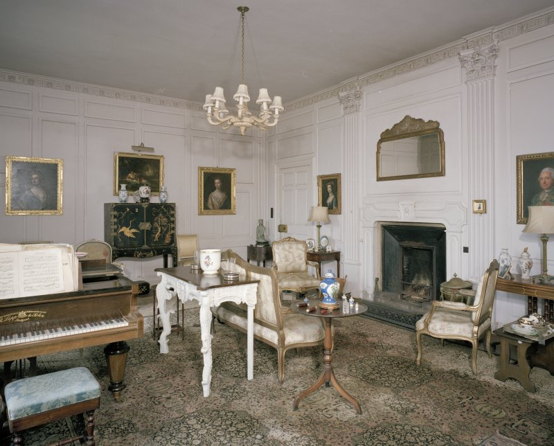 Interior. Ground floor. Dining room showing fireplace and Corinthian pilasters