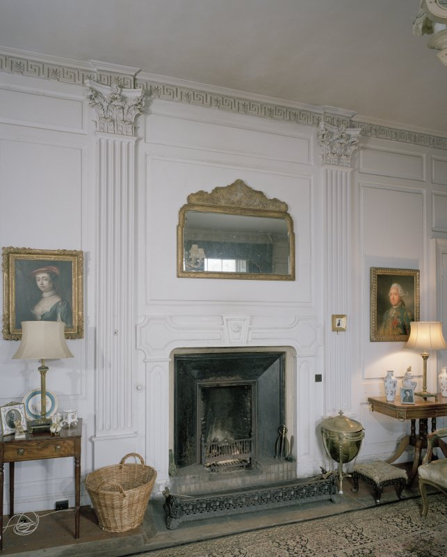Interior. Ground floor. Dining room. Detail of fireplace