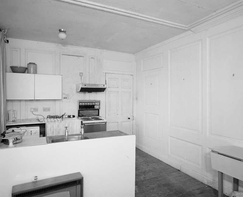 Interior. Ground floor. Modern kitchen. showing panelling