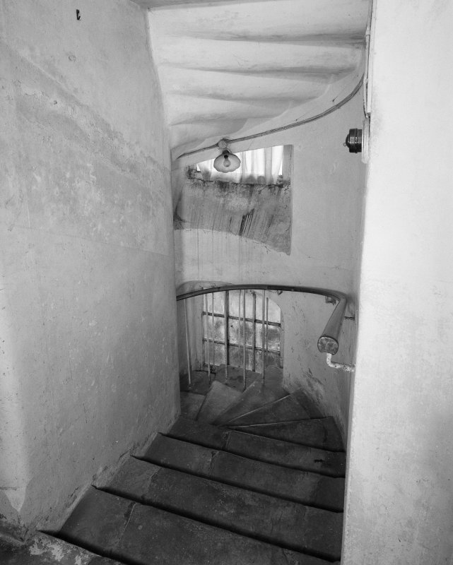 Interior. Ground floor. Stone staircase to basement. Detail.