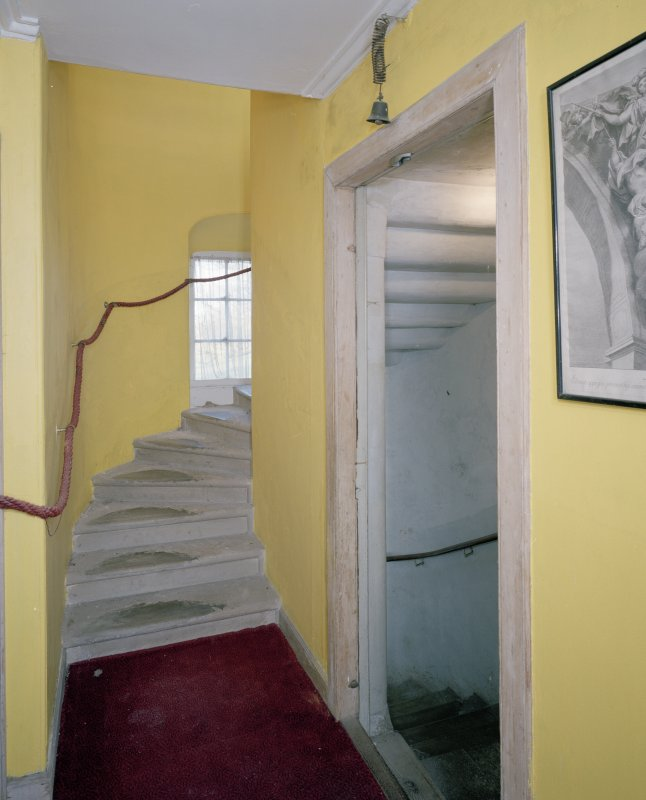 Interior . First floor.Stone staircase.