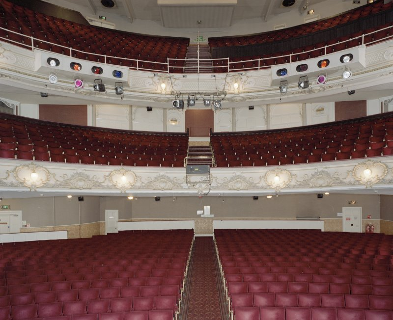 Interior.  Auditorium, view from stage to S