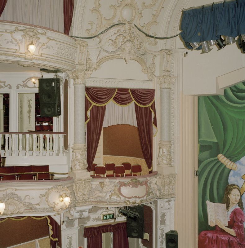 Interior.  Auditorium, detail of box at E end of circle