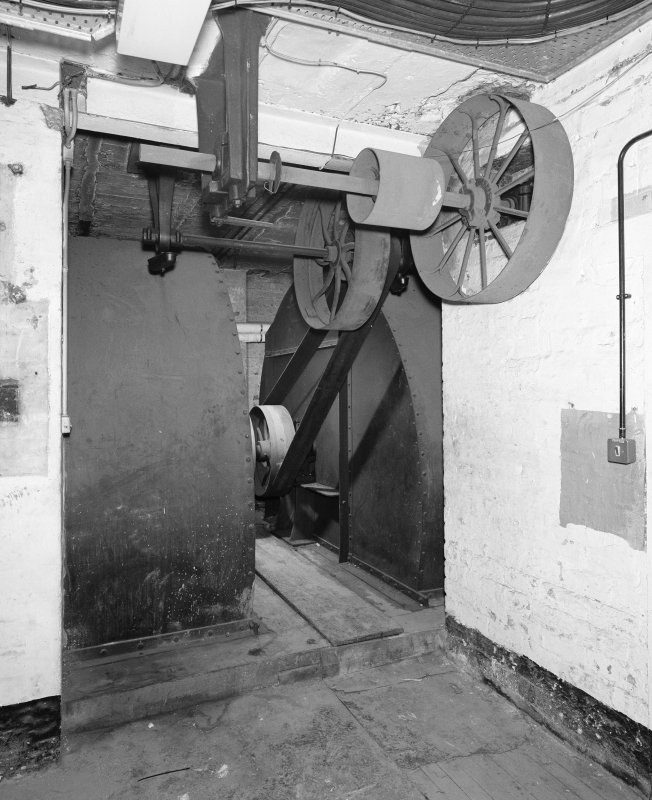 Interior of Glasgow School of Art. Basement, fan room, view of drive belt and pulleys