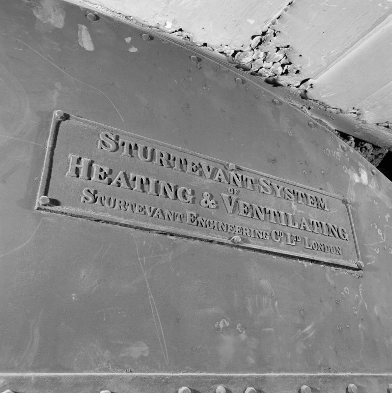 Interior of Glasgow School of Art. Basement, fan room, detail of heating system manufacturer's plaque ' Sturtevant Engineering Co. Ltd. London'
