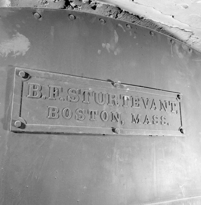 Interior of Glasgow School of Art. Basement, fan room, detail of heating system manufacturer's plaque ' B.F.Sturtevant, Boston, Mass.'