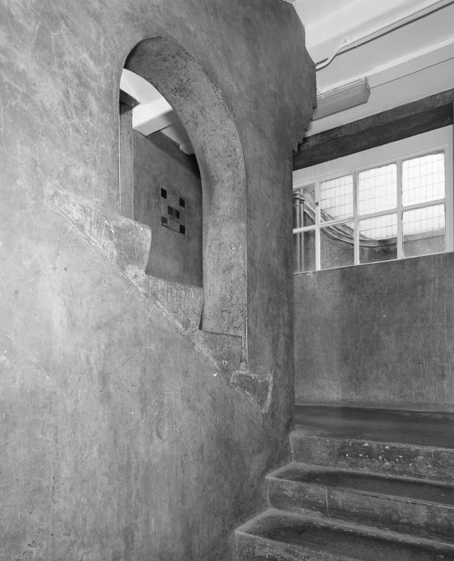 Interior of Glasgow School of Art. Basement, E staircase, detail of open flight