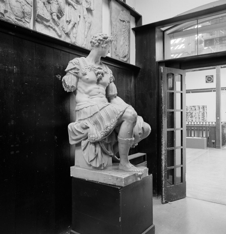Interior of Glasgow School of Art. 1st floor, E corridor, view of statue at W end
