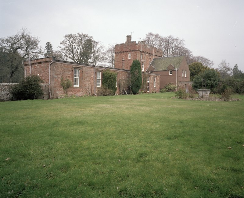 View of 19th century single storey wing and tower from SW