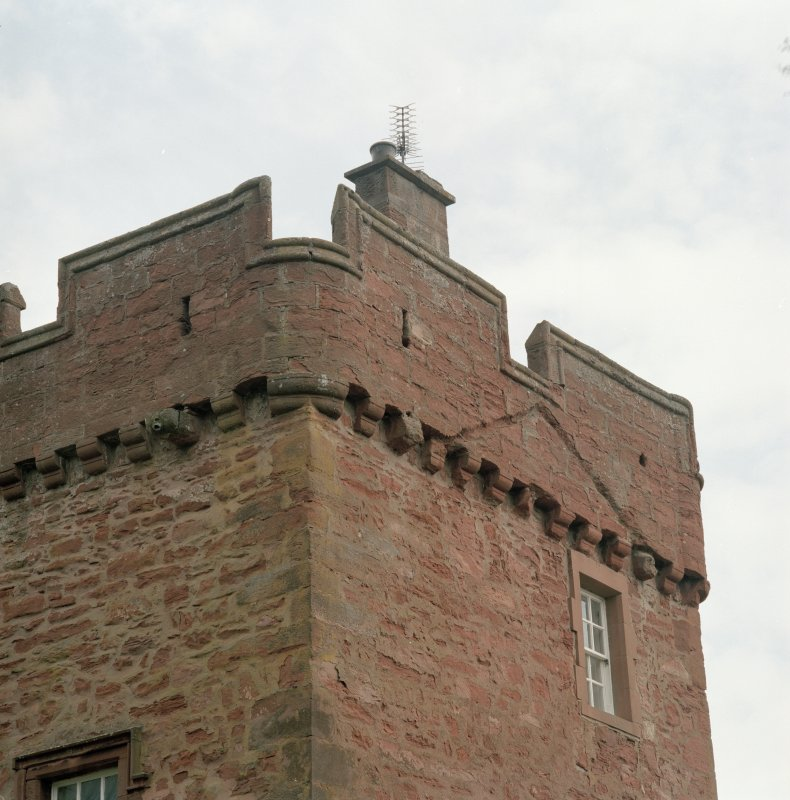 Detail of tower showing corbel course and gable raggle
