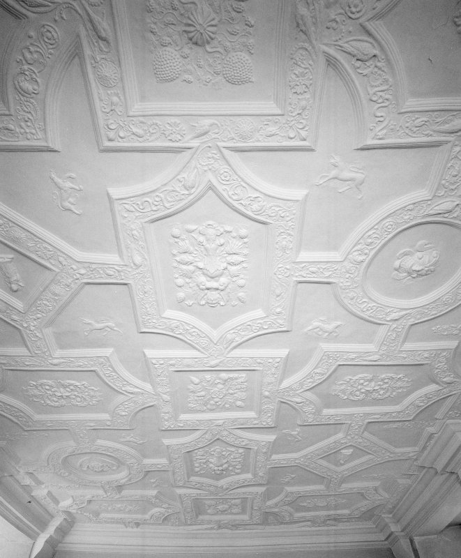Interior. First floor drawing room detail of 17th century plaster ceiling