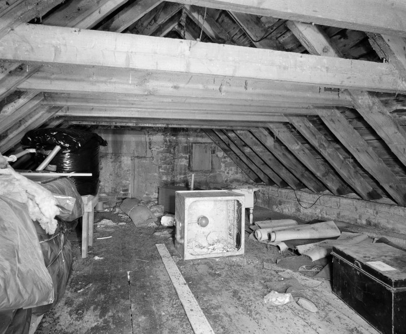 Interior. Attic detail of roof trusses
