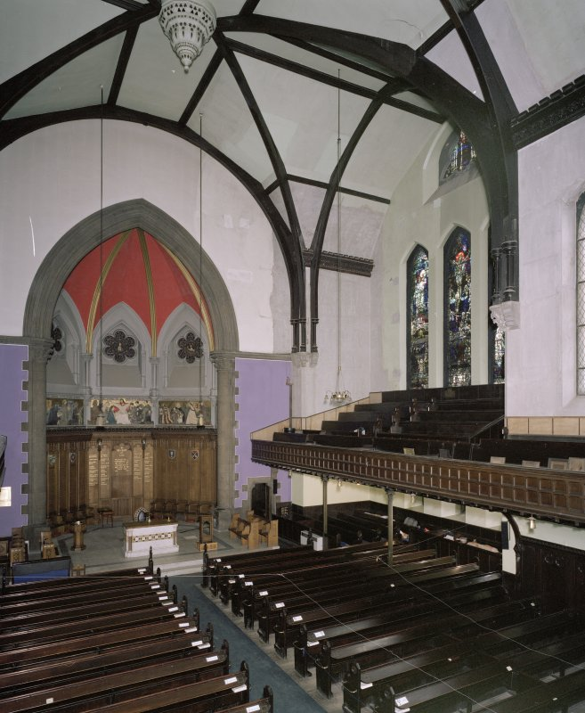 Interior. View from NW at gallery level showing apse and S transept