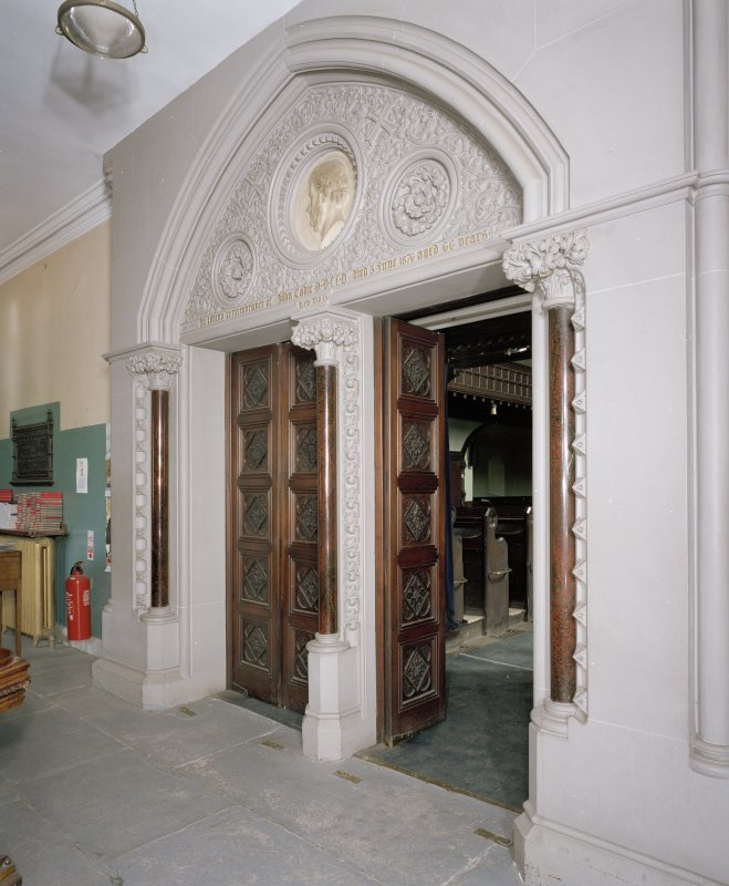 Interior. W lobby, detail of doors