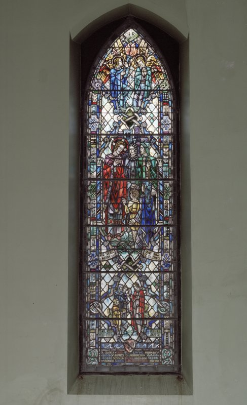 Interior. N wall  stained glass window by Gordon Webster 1966 memorial to James Morrison