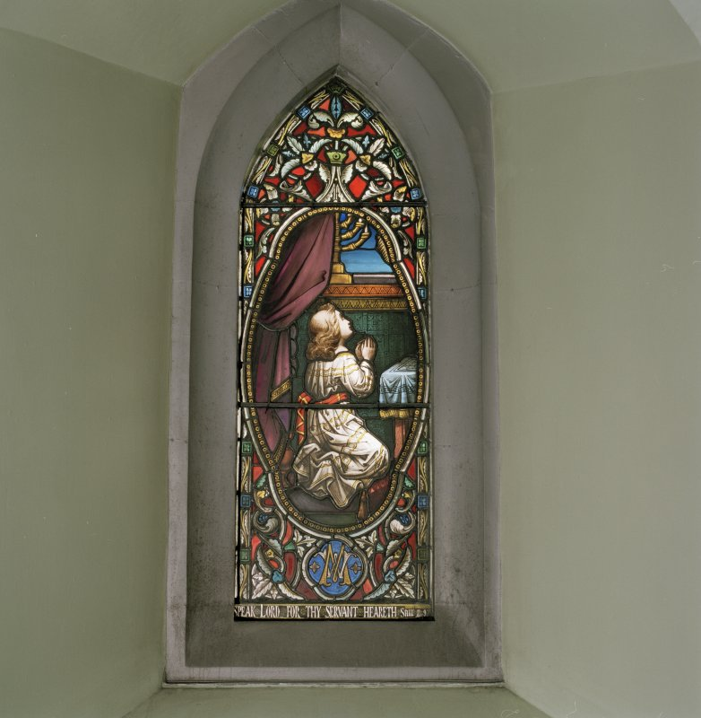 Interior. Aisle stained glass window