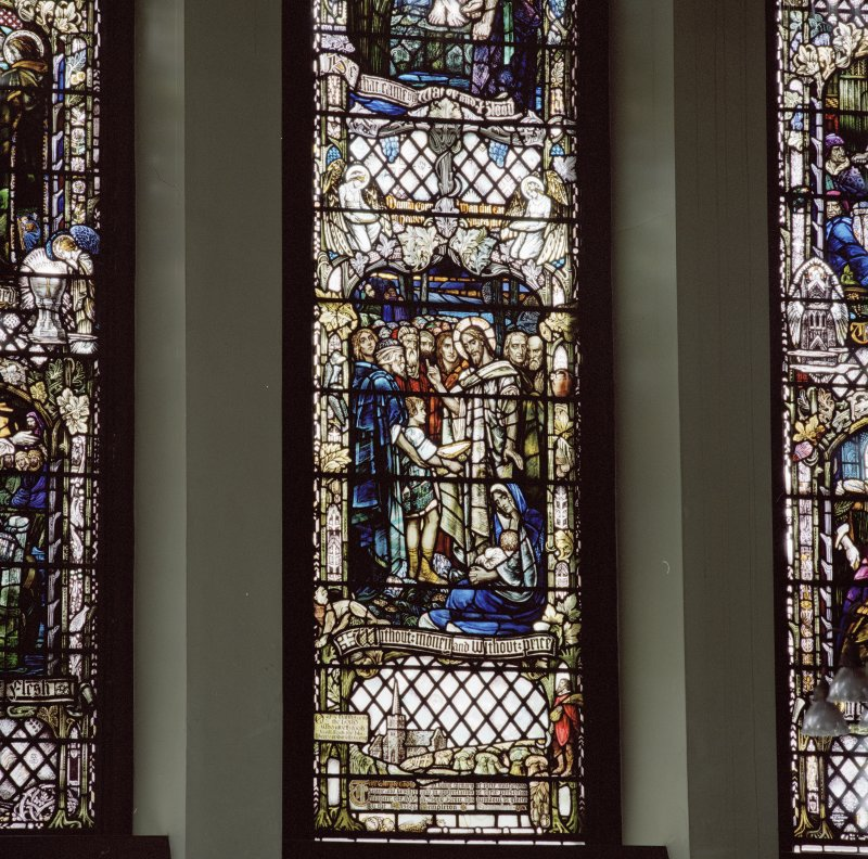 Interior. Detail of N Transept stained glass window by Alf Webster 1913