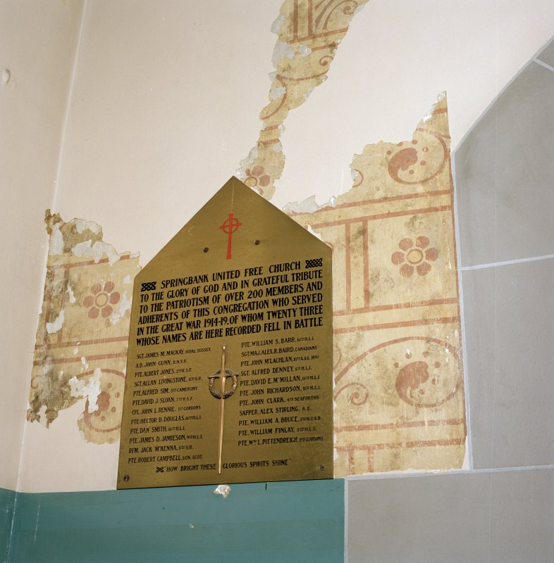 Interior. Springbank UF Church WWI  memorial plaque and remains of stencilled wall decoration