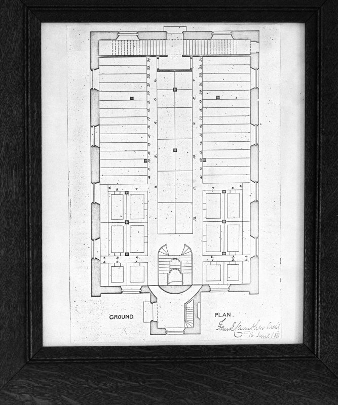 Interior. Ground floor plan dated 1885 signed Frank Carruthers Architect