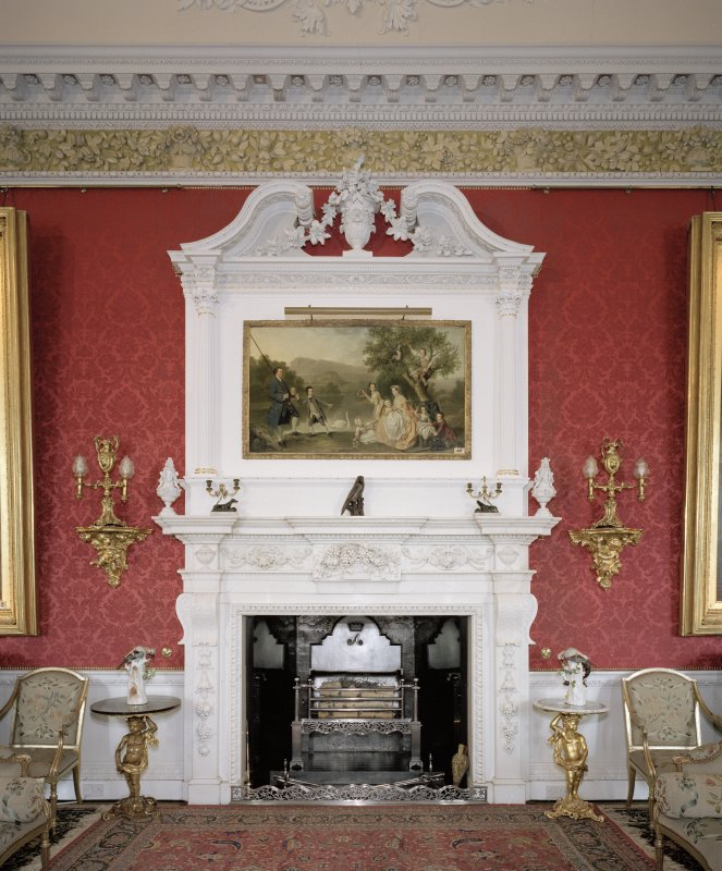 Interior. 2nd floor. Large Drawing Room. Detail of fireplace
