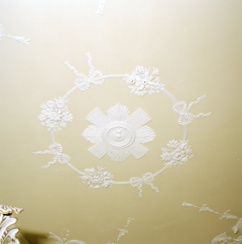 Interior. SE wing. 1st floor. Bedroom no 10. Detail of ceiling