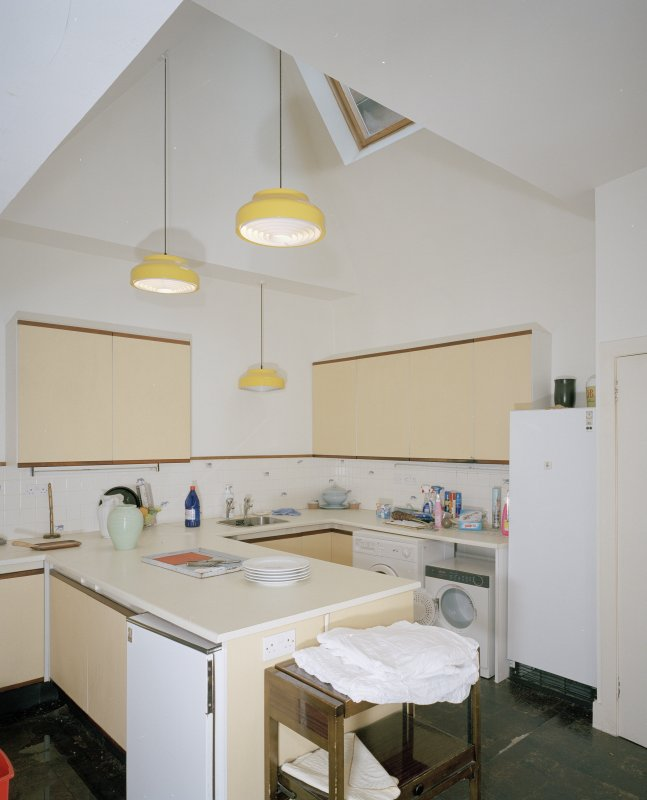 Interior. Ground floor. Kitchen showing rooflight and utility area
