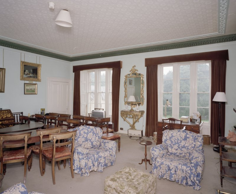 Interior. First floor. Drawing room showing the windows (dining table and chairs not originally in the room)