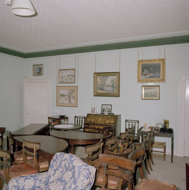 Interior. First floor. Drawing room  (dining table and chairs not originally in the room)