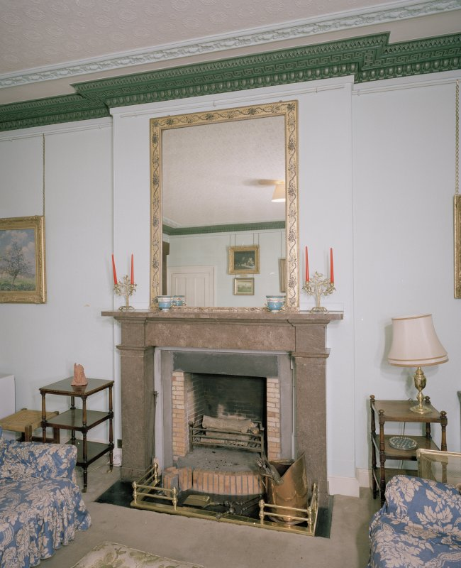Interior. First floor. Drawing room. Detail of marble fireplace