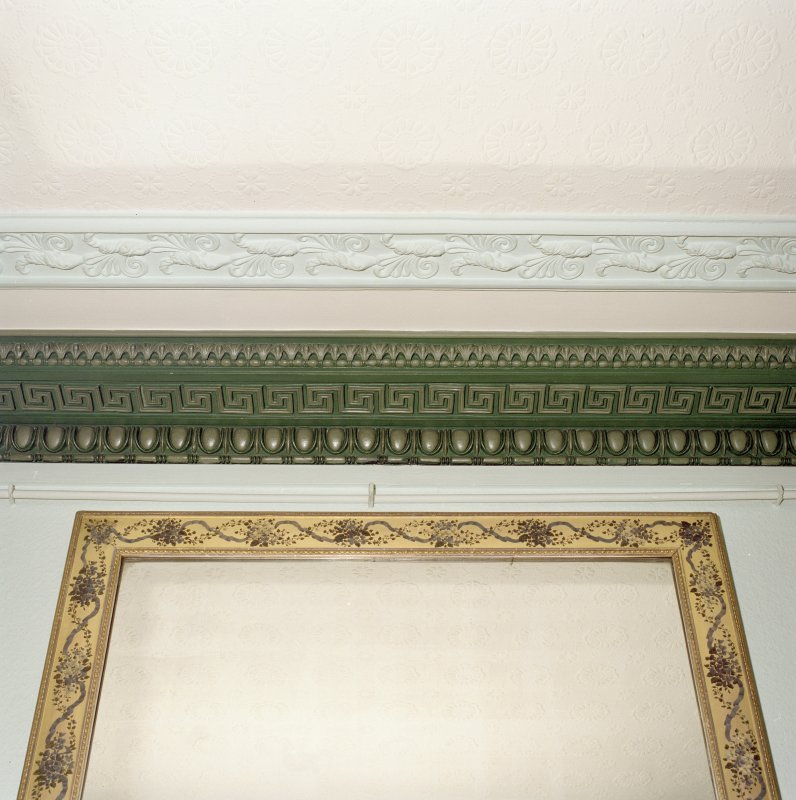 Interior. First floor. Drawing room. Detail of cornice and overmantle mirror