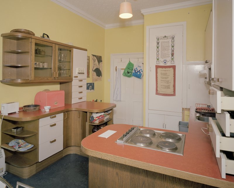 Interior. First floor. Private or family kitchen with 1970's units