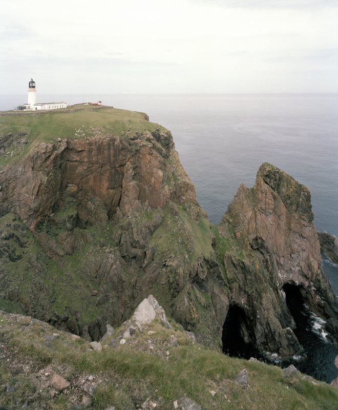 View of lighthouse and cliffs from E.