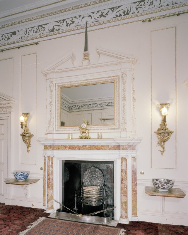 Interior. 1st floor. Small Drawing room. Detail of fireplace