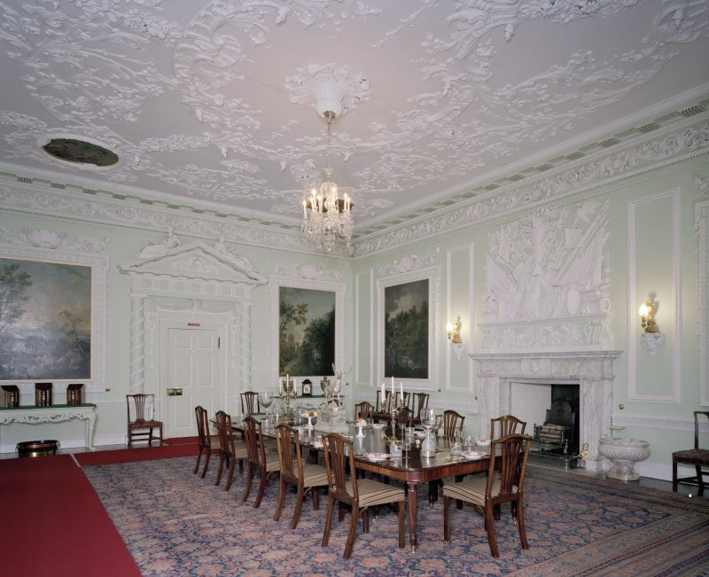 Interior. 1st floor. Dining room. View from S