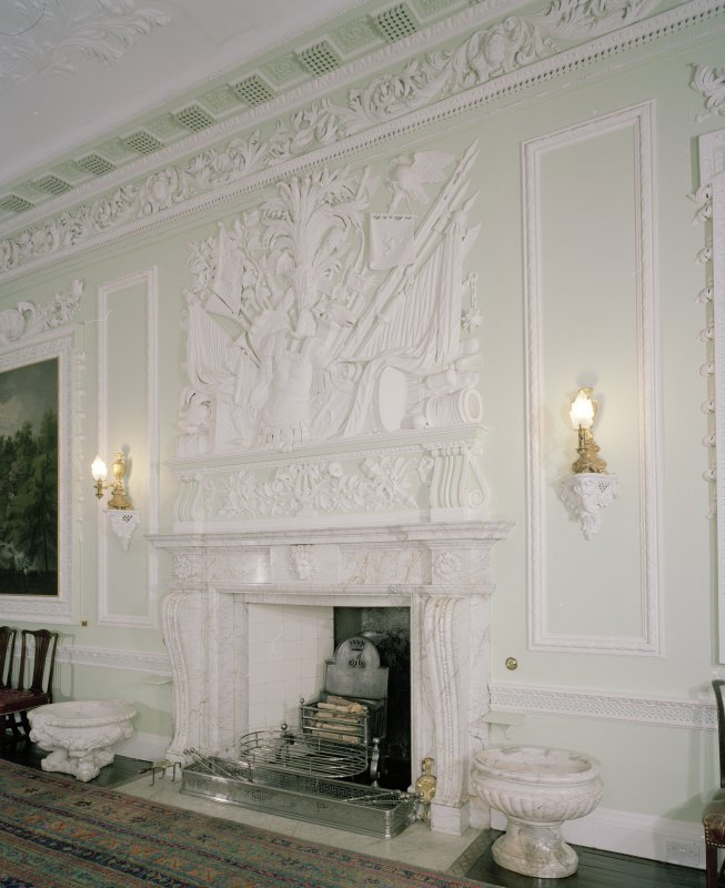 Interior. 1st floor. Dining room. Detail of fireplace and overmantle