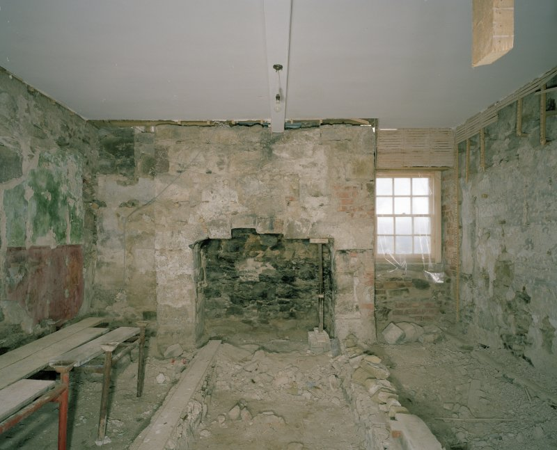 Interior. W range, ground floor showing gable fireplace