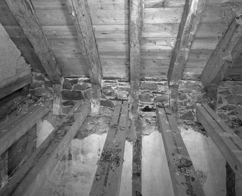 Interior. N range, first floor E room N wall detail of roof trusses