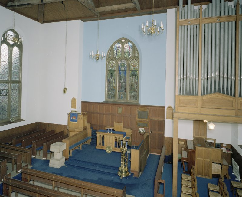 Interior. View of chancel from NE from gallery