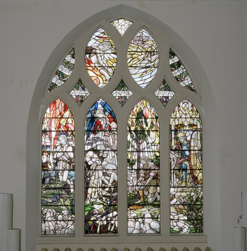 Interior. N wall W  stained glass window depicting Abel, Abraham, Moses and David by Christopher Whall 1896